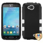 LG Optimus L90 Rubberized Black/Solid White Hybrid Case