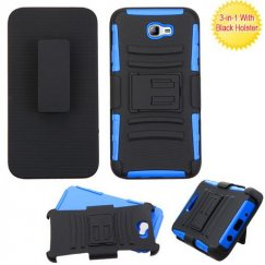 Samsung Galaxy On7 Black/Dark Blue Advanced Armor Stand Case Combo with Black Holster
