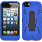 Apple iPhone 5 Hybrid Skin Case with Stand, Blue with Black Trim