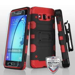 Samsung Galaxy On5 Black/Red 3-in-1 Storm Tank Hybrid Case Combo with Black Holster and Tempered Glass Screen Protector