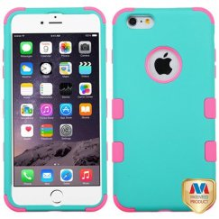 Apple iPhone 6/6s Plus Rubberized Teal Green/Electric Pink Hybrid Case