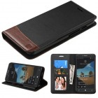 Alcatel One Touch Fierce XL Black/Brown wallet with Card Slot