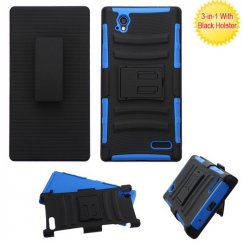 ZTE Warp Elite Black/Dark Blue Advanced Armor Stand Case with Black Holster