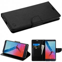 ZTE Blade Z Max / Sequoia Z982 Black Pattern/Black Liner wallet with Card Slot