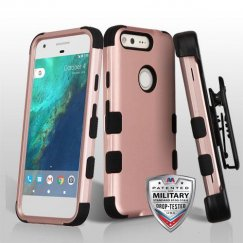 Google Pixel Rose Gold/Black Hybrid Case - Military Grade with Black Horizontal Holster