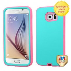 Samsung Galaxy S6 Rubberized Teal Green/Lightning Electric Pink Hybrid Case