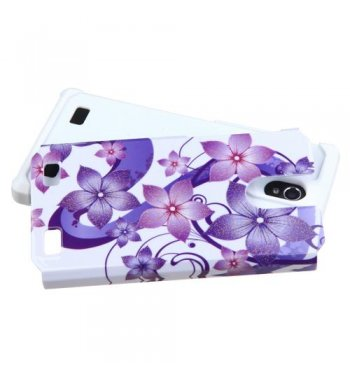 ZTE ZMAX 2 Purple Hibiscus Flower Romance /White Advanced Armor Protector Cover