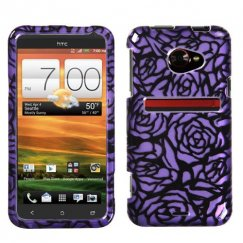 HTC EVO 4G LTE Splash Rose Purple/Black 2D Silver Case