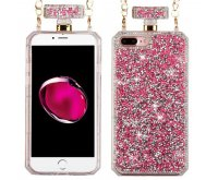 Apple iPhone 7 Plus Hot Pink Mini Crystals Diamante Perfume Bottle Candy Skin Cover with Chain