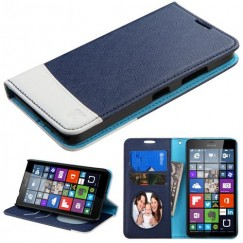 Nokia Lumia 640 Blue/White wallet with Card Slot