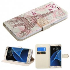 Samsung Galaxy S7 Edge Eiffel Tower Diamante Wallet with Diamante Belt