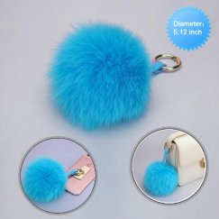 Cellphone Charm-Baby Blue White Fox Wool Ball (Diameter:5.12 inch)