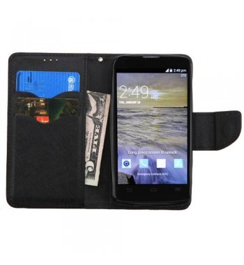 ZTE Uhura N817 Black Pattern/Black Liner wallet with Card Slot