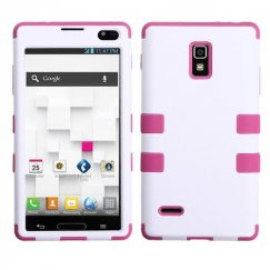 LG Optimus L9 Ivory White/Hot Pink Hybrid Case