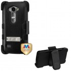 LG Leon H345 Natural Black/Black Hybrid Case with Stand and Black Horizontal Holster