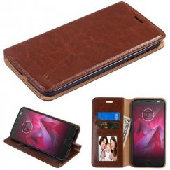 Motorola Moto Z2 Force Brown Wallet with Tray