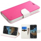 Alcatel One Touch Fierce XL Hot Pink Pattern/White Liner wallet with Card Slot