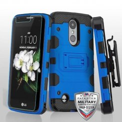 LG K8 Blue/Black 3-in-1 Storm Tank Hybrid Case Combo with Black Holster and Tempered Glass Screen Protector