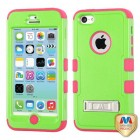 Apple iPhone 5c Natural Pearl Green/Electric Pink Hybrid Case with Stand