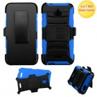 Alcatel Ideal / Streak / Dawn / Acquire Black/ Blue Advanced Armor Stand Case with Black Holster