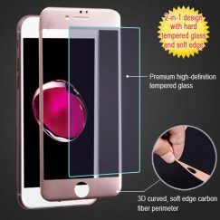 Apple iPhone 7 Plus 3D Curved Soft Edge Carbon Fiber Tempered Glass Screen Protector - Rose Gold
