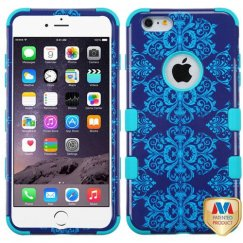 Apple iPhone 6/6s Plus Purple/Blue Damask/Tropical Teal Hybrid Case