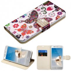 LG K8 / Phoenix 3 Butterfly Wonderland Diamante Wallet with Diamante Belt