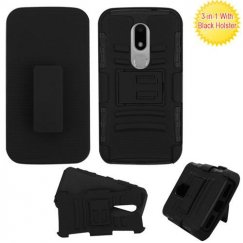 Motorola Moto M Black/Black Advanced Armor Stand Case Combo with Black Holster