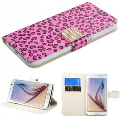 Samsung Galaxy S6 Pink Leopard Skin Wallet with Diamante Belt
