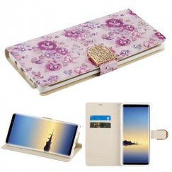 Samsung Galaxy Note 8 Fresh Purple Flowers Diamante Wallet with Diamante Belt