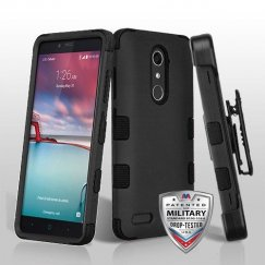 ZTE Grand X Max 2 Rubberized Black/Black Hybrid Case Military Grade with Black Horizontal Holster