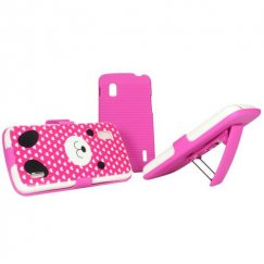 LG Nexus 4 Dog Love Candy Skin Cover with Hot Pink Hybrid Holster