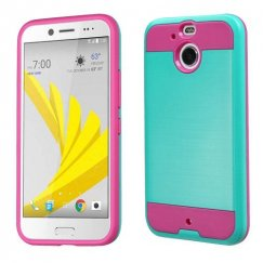 HTC Bolt Teal Green/Hot Pink Brushed Hybrid Case