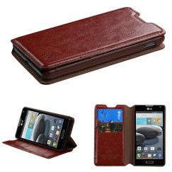 LG Optimus F6 Brown Wallet with Tray