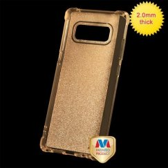 Samsung Galaxy Note 8 Transparent Gold Sheer Glitter Premium Candy Skin Cover