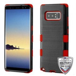 Samsung Galaxy Note 8 Black Brushed/Red Hybrid Case Military Grade
