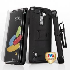 LG G Stylus 2 Black/Black 3-in-1 Case Combo with Black Holster with Twin Screen Protectors