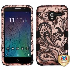 Alcatel Stellar / Tru 5065 Phoenix Flower 2D Rose Gold/Black Hybrid Case