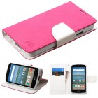 LG Optimus Zone 3 / Spree Hot Pink Pattern/White Liner wallet with Card Slot