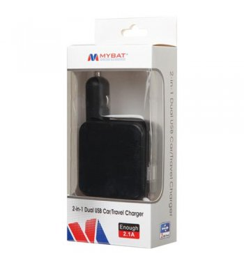 Black 2-in-1 Dual USB Car/Travel Charger