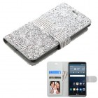 LG G Stylo Silver Mini Crystals with Silver Belt Wallet