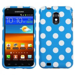Samsung Epic 4G Touch (Galaxy S2) White Polka Dots/Blue Case