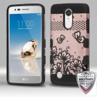 Black Lace Flowers (2D Rose Gold)/Black Hybrid Protector Cover [Military-Grade Certified]