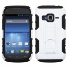ZTE Concord 2 White/Black Car Armor Stand Case - Rubberized