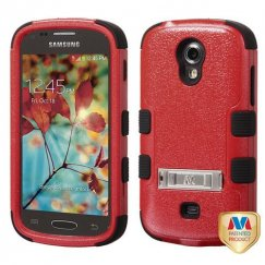 Samsung Galaxy Light Natural Red/Black Hybrid Case with Stand