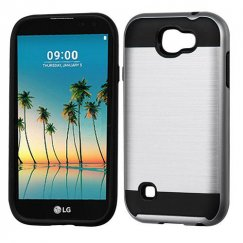 LG K3 Silver/Black Brushed Hybrid Case