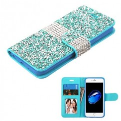 Apple iPhone 7 Baby Blue Mini Crystals with Silver Belt Wallet