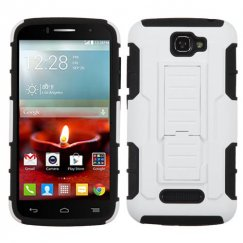 Alcatel One Touch Fierce 2 White/Black Car Armor Stand Case - Rubberized