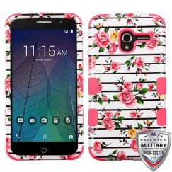 Alcatel Stellar / Tru 5065 Pink Fresh Roses/Electric Pink Hybrid Case
