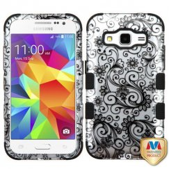 Samsung Galaxy Core Prime Black Four-Leaf Clover 2D Silver/Black Hybrid Case